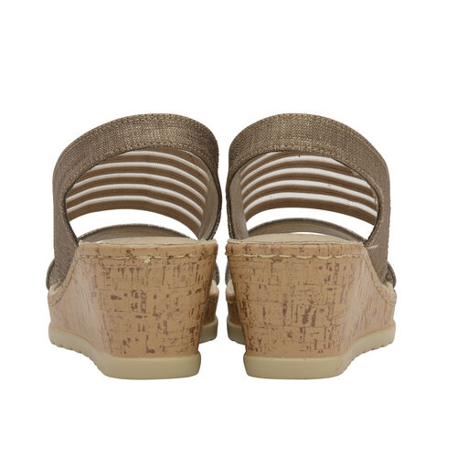 Dunlop Missy Elastic Wedge Heeled Sandals (Size 4) - Taupe