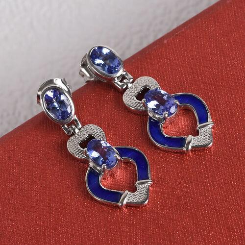 Tanzanite Dangle Earrings in Platinum Overlay Sterling Silver 1.75 Ct.