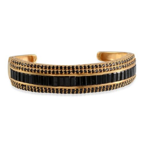 Boi Ploi Black Spinel (Bgt) Cuff Bangle (Size 7.5) in 14K Gold Overlay Sterling Silver 21.750 Ct.