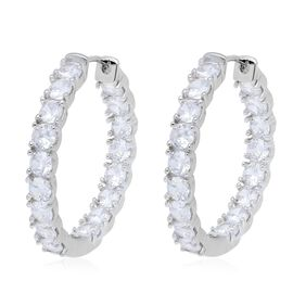Simulated Diamond (Rnd) Inside Out Hoop Earrings (with Clasp Lock) in Silver Plated