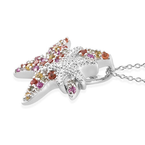 Rainbow Sapphire (Rnd) Star Fish Pendant With Chain (Size 18) in Platinum Overlay Sterling Silver 0.750 Ct.