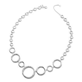 RACHEL GALLEY Allegro Collection - Rhodium Overlay Sterling Silver Circular Link Necklace (Size 20),