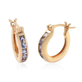 Tanzanite Earrings (with Clasp Lock) in 14K Gold Overlay Sterling Silver