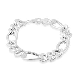 Italian Made Figaro Chain Bracelet in Rhodium Plated Silver 21.90 grams 8.5 Inch