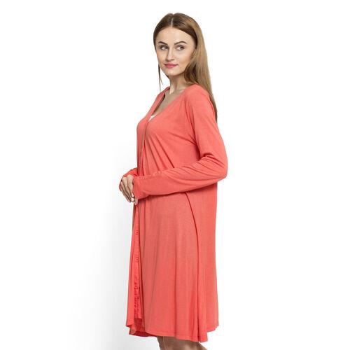 Designer Inspired-Dark Coral Colour Free Size Versatile Knit Cardigan (Large Size)