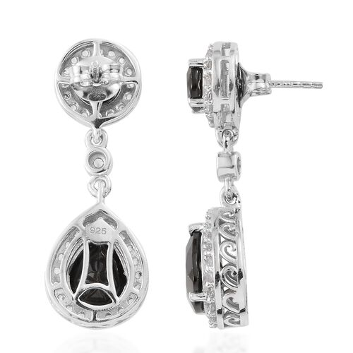 Elite Shungite (Pear and Rnd), Natural Cambodian Zircon Earrings (with Push Back) in Platinum Overlay Sterling Silver 5.575 Ct, Silver wt 5.23 Gms