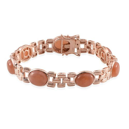 Morogoro Peach Sunstone (Ovl) Bracelet (Size 7.5) in Rose Gold Overlay Sterling Silver 26.000 Ct.