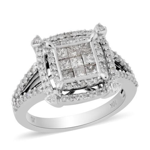 9K White Gold Natural White Diamond Ring 0.99 ct, Gold Wt. 5.20 Gms