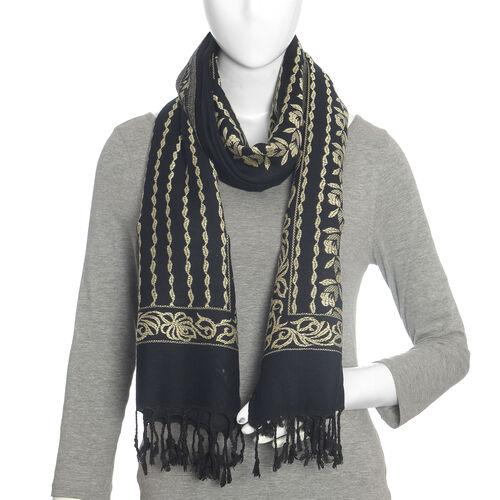 Jacquard Pattern Black and Cream Colour Scarf (Size 70x200 Cm)