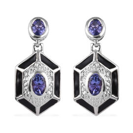 Tanzanite Enamelled Dangle Earrings (with Push Back) in Platinum Overlay Sterling Silver 1.75 Ct.