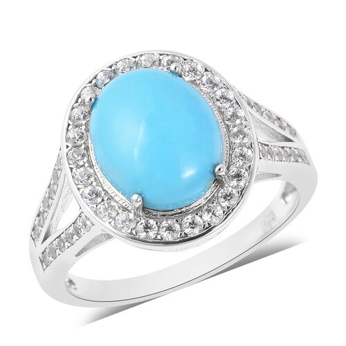 3.80 Ct Sleeping Beauty Turquoise and Zircon Ring in Rhodium Plated Sterling Silver