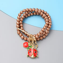 Set of 3 - Brown Shell Pearl Stretchable Enamelled Four Charm Bracelet in Gold Tone