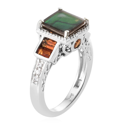 AA Canadian Ammolite (Sqr 8mm), Madeira Citrine and Natural White Cambodian Zircon Ring in Platinum Overlay Sterling Silver