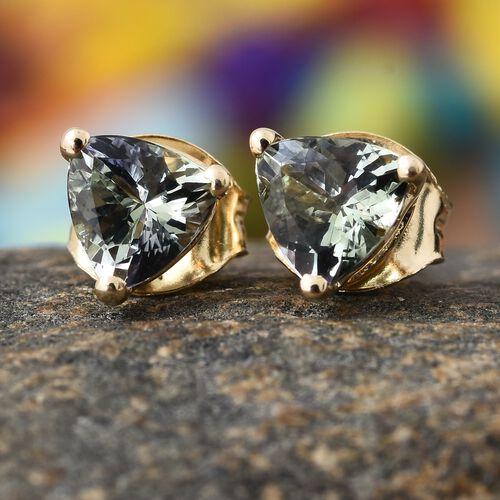 9K Yellow Gold 1 Ct AA Green Tanzanite Stud Earrings (with Push Back)