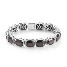 13 Carat Elite Shungite Station Bracelet in Platinum Plated Sterling Silver 8 Inch