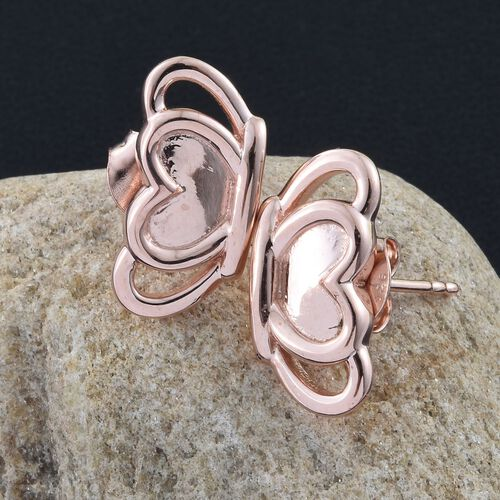 Rose Gold Overlay Sterling Silver Half Butterfly Stud Earrings (with Push Back), Silver wt. 3.83 Gms.
