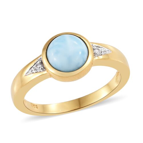 Larimar (Rnd 1.95 Ct), Natural Cambodian Zircon Ring  14K Gold Overlay Sterling Silver 2.000 Ct.