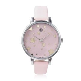 STRADA Japanese Movement Water Resistant Star Pattern Watch with Pink Strap