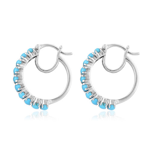 Arizona Sleeping Beauty Turquoise (Rnd) Hoop Earrings (with Clasp Lock) in Platinum Overlay Sterling Silver 1.500 Ct
