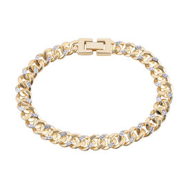 Close Out Deal- Royal Bali Collection 9K Yellow and White Gold Diamond Cut Curb Bracelet (Size 7.5),