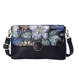 100% Genuine Leather Floral Embossed Pattern Crossbody Bag (25x18x7cm) with Magnetic Closure in Blac