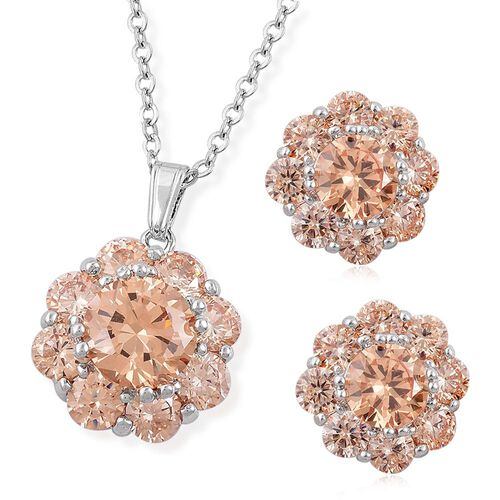 AAA Simulated Champagne Diamond Flower Pendant with Chain (Size 22) and Stud Earrings in Silver Tone