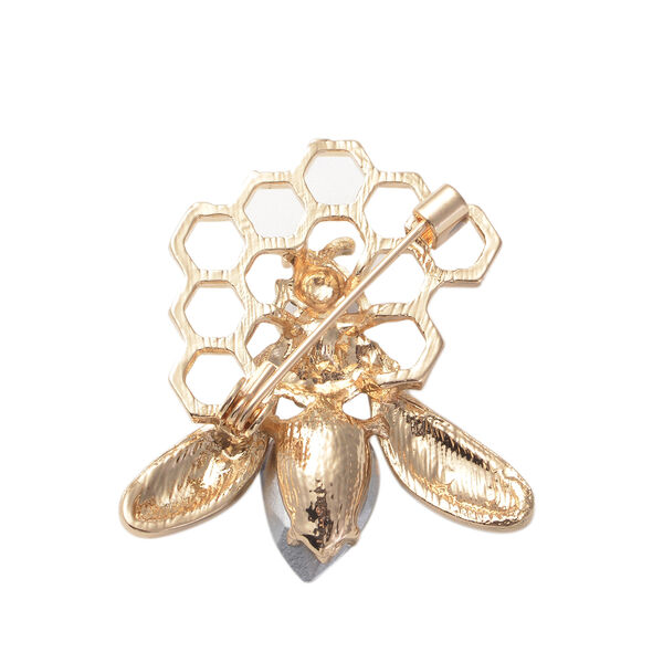Simulated Champagne Diamond, Simulated Pearl, Black and White Austrian Crystal Enamelled Honey Bee Brooch in Gold Tone