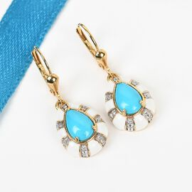 Arizona Sleeping Beauty Turquoise and Natural Cambodian Zircon Enamelled Earrings in 14K Gold Overlay Sterling Silver 2.580 Ct.