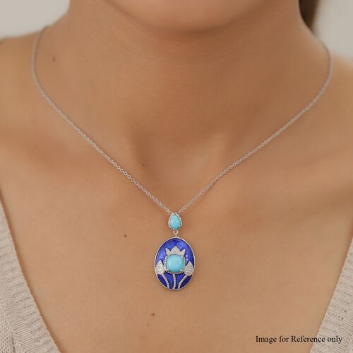 Arizona Sleeping Beauty Turquoise Dangling Enamelled Pendant in Platinum Overlay Sterling Silver 1.65 Ct.