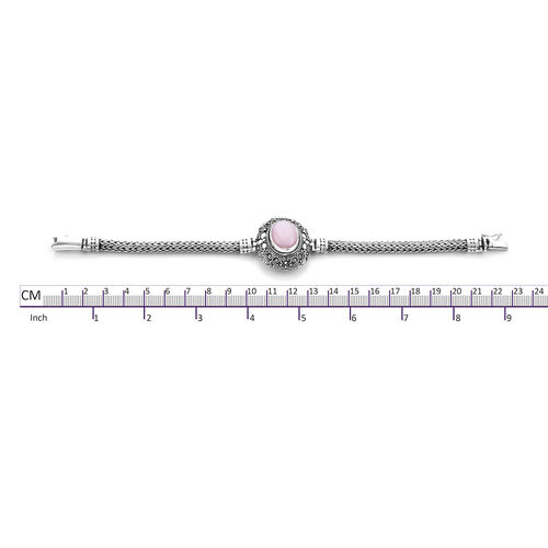 Royal Bali Collection - Peruvian Pink Opal (Ovl 18x13mm) Tulang Naga Bracelet (Size 7.25) in Sterling Silver 8.77 Ct, Silver wt 34.50 Gms
