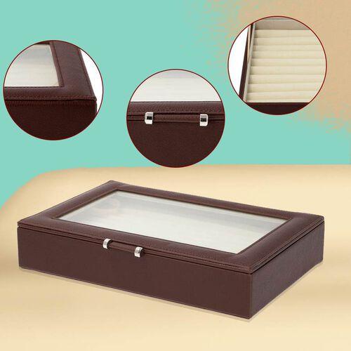 Dark Brown Ring Box with Anti-Tarnish Lining and Transparent Window (26.7x17.8x5.5cm)