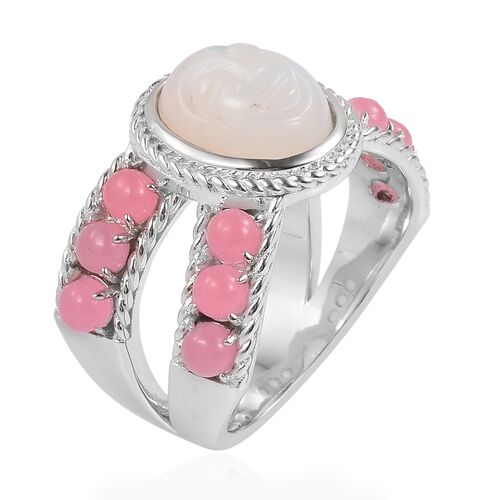 Smiling Face Carved Ethiopian Welo Opal (Ovl 2.00 Ct), Pink Jade Ring in Rhodium Plated Sterling Silver 4.750 Ct. Silver wt 7.33 Gms.