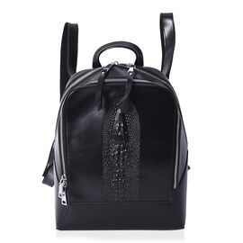 100% Genuine Leather Croc Embossed Backpack with Double Zip Closure and Adjustable Shoulder Strap (S