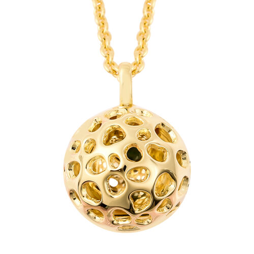RACHEL GALLEY Russian Diopside Lattice Globe Pendant with Chain (Size 20 with Extender) in Yellow Go