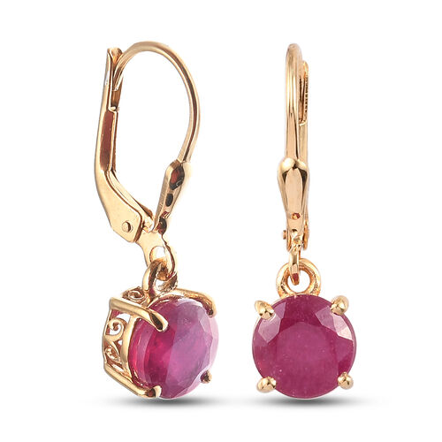 African Ruby (FF) Lever Back Earrings in 14K Gold Overlay Sterling Silver 4.39 Ct.