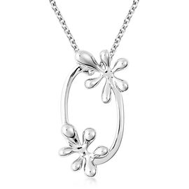 LucyQ Rhodium Overlay Sterling Silver Splash Pendant With Chain (Size 20)