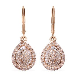 9K Yellow Gold SGL Certified Diamond (Rnd and Bgt) (G-H/I3) Lever Back Earrings 0.50 Ct.
