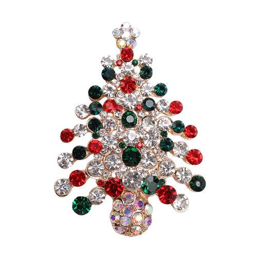 Multi Colour Austrian Crystal Enamelled Christmas Tree Brooch