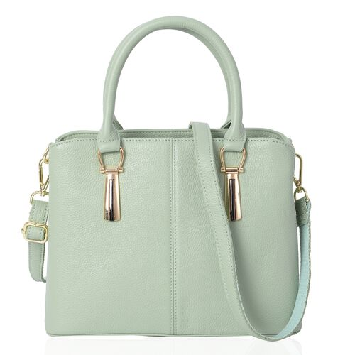100% Genuine Leather Light Green Colour Tote Bag with External Zipper Pocket and Removable Shoulder