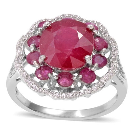 African Ruby (Ovl 5.00 Ct), Burmese Ruby and Natural Cambodian White Zircon Ring in Rhodium Plated Sterling Silver 7.750 Ct.