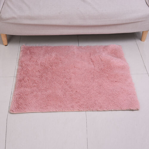 Deeep Faux Fur Microfibre Rug with Non-Slip Base (80x100cm) - Dusty Pink