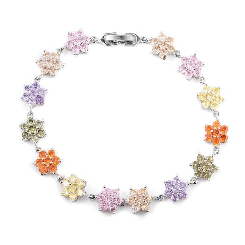 Multi Colour Simulated Diamond (Rnd) Bracelet (Size 8) and Earrings in Silver Plated