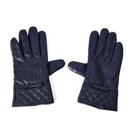 100% Genuine Leather Gloves with Bowknot and Quilted Pattern on Wrist (Size 9x23 Cm) - Navy