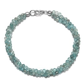 Paraibe Apatite (Rnd) Twisted Bead Bracelet (Size 7.5) with Lobster Lock in Rhodium Overlay Sterling