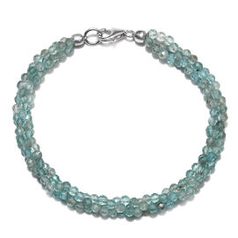 39 Ct Paraibe Apatite Twisted Beaded Bracelet with Lobster Lock in Rhodium Plated Silver 7.5 Inch