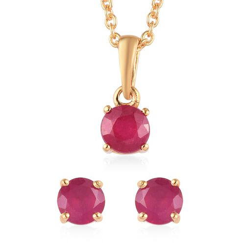 2 Piece Set - African Ruby Pendant with Chain (Size 18) and Stud Earrings (with Push Back) in 14K Go