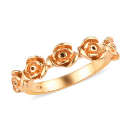 14K Gold Overlay Sterling Silver Rose Ring