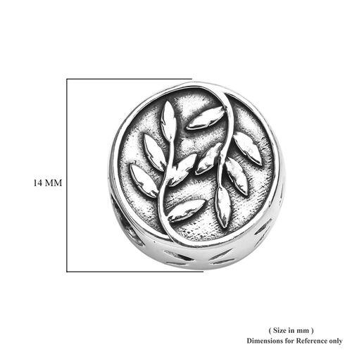 Charmes De Memoire Platinum Overlay Sterling Silver Leaf Charm, Silver wt 3.20 Gms
