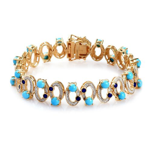 Arizona Sleeping Beauty Turquoise Enamelled Infinity Bracelet (Size 7) in 14K Gold Overlay Sterling