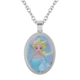 Disney Frozen Elsa Pendant Necklace (Size 16 with 2 inch Extender) in Silver Tone